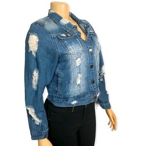 Between Us Trucker Denim Jacket Ripped and Distressed